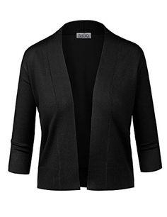 BIADANI Women Classic 3/4 Sleeve Crop Cardigan - http://www.darrenblogs.com/2016/10/biadani-women-classic-34-sleeve-crop-cardigan/