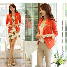 Find More Blazers Information about 2014 Autumn Fashion Korean Design Office lady  Wear Work Clothes Cute Orange Suits Jackets And Blazers For Women Free Shipping,High Quality jacket autumn,China jacket and blazer Suppliers, Cheap blazer jacket coat from Fashionista on Aliexpress.com