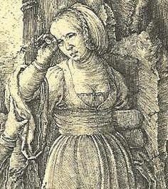 "Detail of ""Abraham Repudiates Hagar"", Lucas van Leyden  1516"