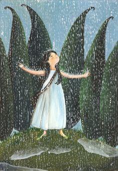 luisa capparotto Rainy Night, Rainy Days, Children's Book Illustration, Book Illustrations, Illustrator, Stop The Rain, Moon River, Le Jolie, Childrens Books