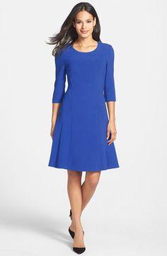 UPC 704348508579 product image 1   Women's BOSS 'Dasona' Fit & Flare Dress, Size 2 - Blue   upcindex.com