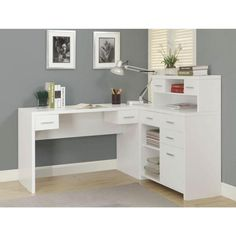Monarch Specialties in. White L-Shaped 8 -Drawer Computer Desk with Open Storage I 7028 - The Home Depot Computer Desk With Shelves, Desk Shelves, Desk Storage, Desk With Drawers, White L Shaped Desk, L Shaped Corner Desk, White Corner Desk, Home Office Design, Home Office Decor
