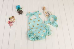5700689c5cc Mint Blue with Gold Polka Dots Baby Girl Bubble Romper