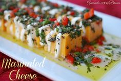 Marinated Cheese: alternate cracker-sized slices of cheddar (or jack or whatever) with slices of cream cheese (or mozzarella) and marinate in herb-garlic stuff. Cold Appetizers, Cheese Appetizers, Appetizer Recipes, Wedding Appetizers, Appetizer Ideas, Mozzarella, Hors D'oeuvres, Corn Dogs, Kielbasa