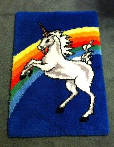 Bright Vintage Unicorn Hooked Rug from Bucilla Kit 24 x 36 Inches | eBay