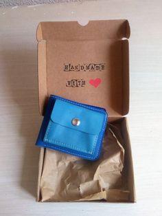 Cartera de Cuero Azul Tamaño Pequeño, Monedero para Mujer, Monedero Unisex, Cartera de Piel Azul de JYNzapateros en Etsy