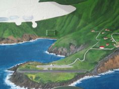 Mural in the making at Juancho E. Yrausquin Airport on Saba, Dutch Caribbean #Saba #mural #airport #Caribbean