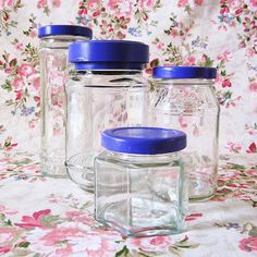Spray-paint the lids of random leftover jars to make a matching set.