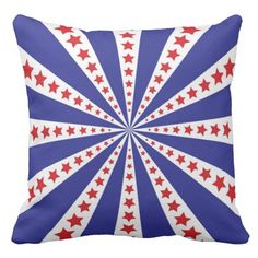 Shop Patriotic Red White and Blue Burst Outdoor Pillow created by stationeryshop. Outdoor Throw Pillows, Decorative Throw Pillows, Red And White, Flag, Art, Art Background, Accent Pillows, Kunst, Science