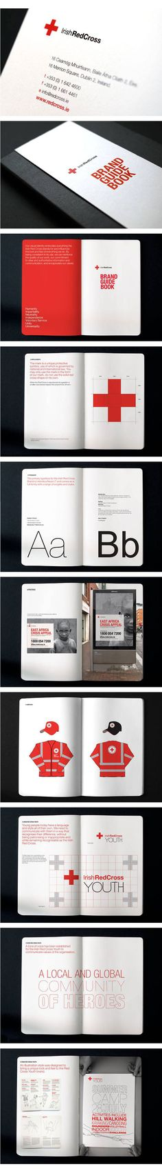 Creative Inc — Graphic Design, Branding + Advertising / Irish Red Cross Graphic Design Layouts, Graphic Design Branding, Brochure Design, Graphic Design Inspiration, Brochure Cover, Coperate Design, Book Design, Design Guidelines, Brand Guidelines