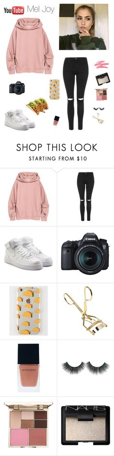 """""""Mel Joy """" by whitneyhodges ❤ liked on Polyvore featuring Topshop, NIKE, Eos, Ankit, Witchery, Stila and NARS Cosmetics"""
