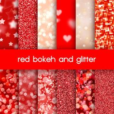 red bokeh and glitter digital paper, web background