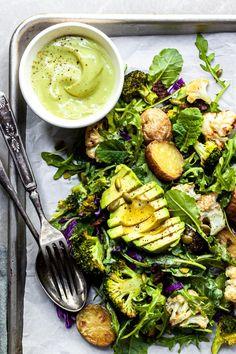 Roasted Vegetable & Kale Salad with Vegan Avocado Caesar Dressing - Crumbs & Caramel Pumpkin Seed Recipes, Veggie Recipes, Salad Recipes, Vegetarian Recipes, Healthy Recipes, Pescatarian Recipes, Recipes Dinner, Diet Recipes, Roasted Vegetables