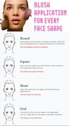 H&B: Blush application to suit face shape - Makeup Tips Tutorials Blusher Makeup, Skin Makeup, Beauty Makeup, Makeup Art, Beauty Tips, Urban Decay, How To Apply Blusher, How To Apply Makeup, Applying Makeup