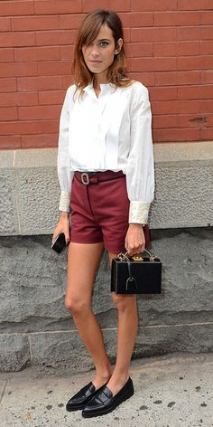 Alexa Chung wears Tommy Hilfiger spring collection during New York Fashion Week.