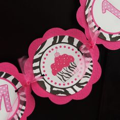 Cupcake Pink and Zebra -  I AM 1 Mini Banner - Happy First Birthday Party Decorations