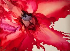 Alcohol Ink Painting 'Poppy' by MoltenGirl on Etsy, $55.00