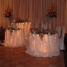 This would be pretty for the gift and cake tables. Maybe guest register table as well....