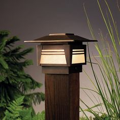 """ZEN GARDEN POST LIGHT - Serene, minimalist design and added security to supplement deck sconces. - Lamp Included: Included - Lead Wire Length: 59"""" - Glass Description: Textured amber seedy linen glass"""