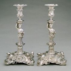 Pair of Candlesticks, marked by Paul de Lamerie, 1742/43, on loan from the Cahn Collection