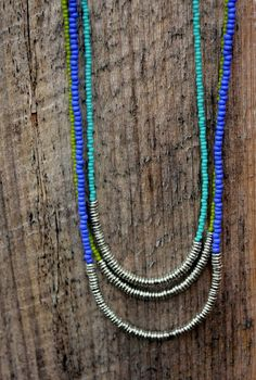 Seed Beads and Metal Wafers.  The heavier metal beads help the necklace stay centered.