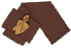 Burlap Chocolate Placemat Set of 2 - These placemats are made from 100�0cotton and woven into a burlap fabric. Each placemat measures 12x18, sold in a set of 2 pcs with a satin stitch finish and frayed edges. The set is packaged in a self sealing poly bag with UPC and Child Safely Warning sticker.