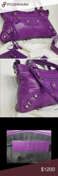 New Balenciaga First Arena Giant 12 Bag Beautiful new with card and fabric swatch Balenciaga purple bag with silver hardware Balenciaga Bags Shoulder Bags