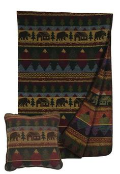 Cabin Bear Pillow and Throw Set - Great for Decorating - Great for Gift Giving  - Buy at Snugglebug Pillows and Throws www.snugglebugpillowsandthrows.com