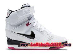 best sneakers 97425 b2492 Femme Nike Air Revolution Sky Hi GS Blanc Noir Rose Chaussures Pas Cher  599410-103