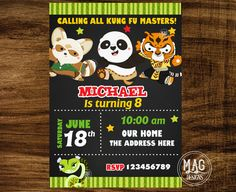 Kung fu Panda Invitation Kung fu Panda by MAGDESIGNSPARTY on Etsy
