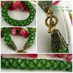 Vintage Look Peridot Swarovski Crystal Beaded Handmade bangle bracelet