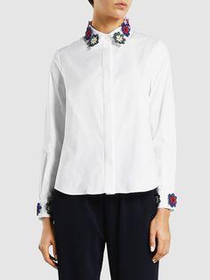 Mary Katrantzou Shane Floral-Appliquéd Cotton Shirt, White
