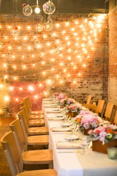 Pink Reception with String Lights | photography by http://www.firstcomeslovephoto.com/