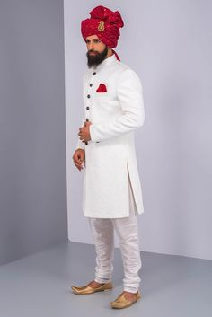 Wedding Dress Plain Sherwanis, Rent Ekaksh White Textured Sherwani With White Churidar at Flyrobe Sherwani For Men Wedding, Wedding Dresses Men Indian, Groom Wedding Dress, Sherwani Groom, Mens Sherwani, Asian Wedding Dress, Wedding Men, Indian Groom Dress, Achkan