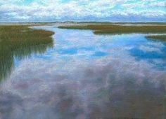 Daily painting: Seascape, Sky Reflections on Inlet, painting by artist Nancy Poucher