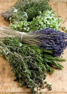 Herbes de Provence: 4 parts dried rosemary, 3 parts dried thyme, 2 parts dried savory, 2 parts dried basil,  2 parts dried marjoram, 1 part dried lavender (by volume). Use for scrambled eggs or roast chicken.