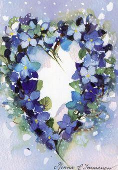 caijsa's postcards Minna Immonen: Hydrangea wreath