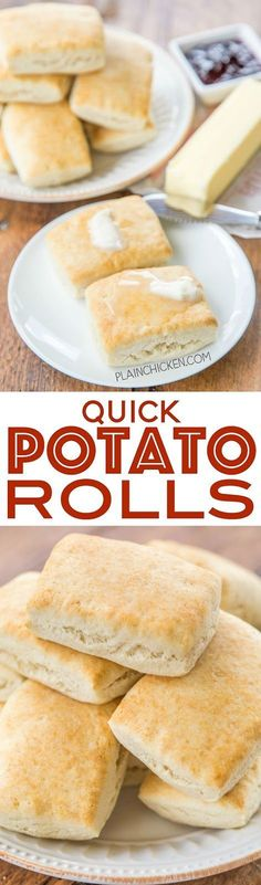 Quick Potato Rolls - ready in 15 minutes!! No rising! Mix, press, cut and bake. Perfect for breakfast, lunch or dinner!! Instant mashed potato flakes, sugar, butter, water and Bisquick. Serve the biscuits with butter, honey, syrup or jam! These rolls fly off the plate!! Everyone LOVES this easy bread recipe!