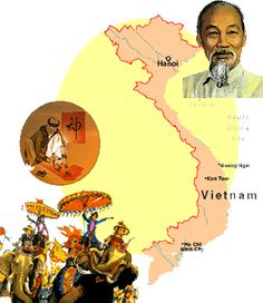 a map of Vietnam surrounded by: A picture of Ho Chi Minh, A cartoon of people riding elephants trained in warfare, a monk writing in Vietnam...
