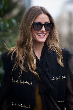 Olivia Palermo's hair color transformation.