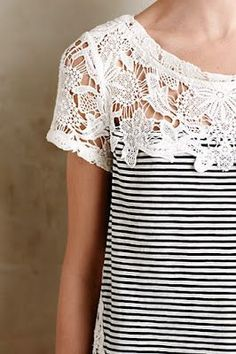 Perfect top for spring summer. Love the mix of classic stripes with the lacy interest up top.