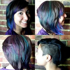 Kenra Color Creative work by Maggie Angeli. #PurpleHair #TealHair #BlueHair