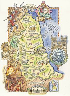 A map of Northumberland by David Hobbs
