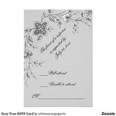"""Gray Tone floral  RSVP Card 3.5"""" X 5"""" Invitation Card http://www.zazzle.com/whitewavespaperie"""