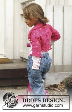 "Free pattern! Crochet DROPS bolero with lace pattern in ""Safran"". Size 3 - 12 years."