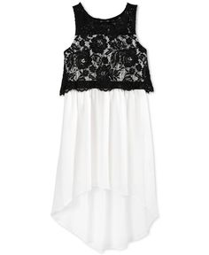 Sequin Hearts Girls' Lace Popover High-Low Dress