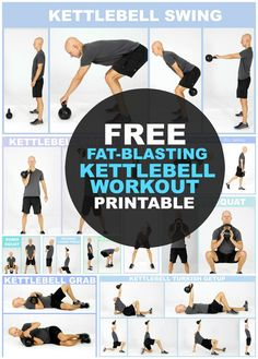 14 Kettlebell Exercises for Weight Loss - Workout Printable.