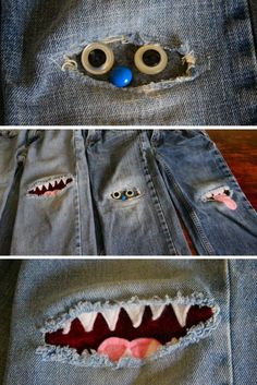 Patching Knees with Monster Patches (Diy Bag For Teens)Patching Knees with Monster Patches Could be fun for little ones and extend the life of their blue jeans!sewing clothes patterns Patching Knees with Monster Patches - You'll love these so much you'll Fabric Crafts, Sewing Crafts, Sewing Projects, Diy Projects, Diy Clothing, Sewing Clothes, Patched Jeans, Denim Jeans, Ragged Jeans