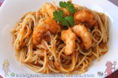 Receta saludable de Pasta con langostinos baja en calorías, apta para diabéticos y baja en colesterol.