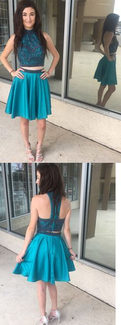 Luxurious Two Piece Short Teal Homecoming Dress Teal Homecoming Dresses, Elegant Prom Dresses, Hoco Dresses, Formal Evening Dresses, Dresses For Teens, Beautiful Dresses, Dress P, Party Dress, Back To School Fashion